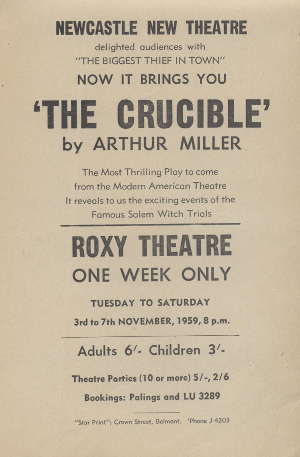 "Flyer for ""The Crucible"""