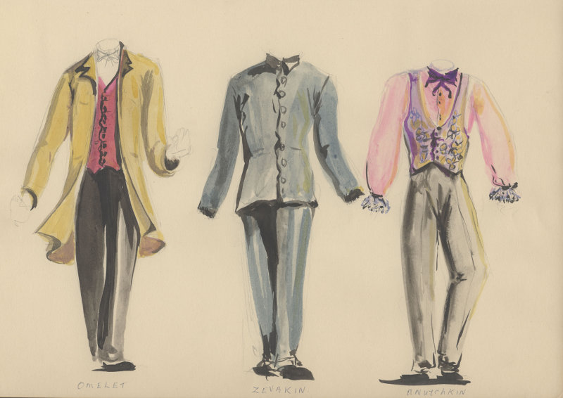 "A5183 ""The Marriage"" Watercolour sketches for the characters of Omelet, Sevakin & Anutchkin"