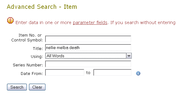 Archives Investigator - Advanced Item Search for Nellie Melba