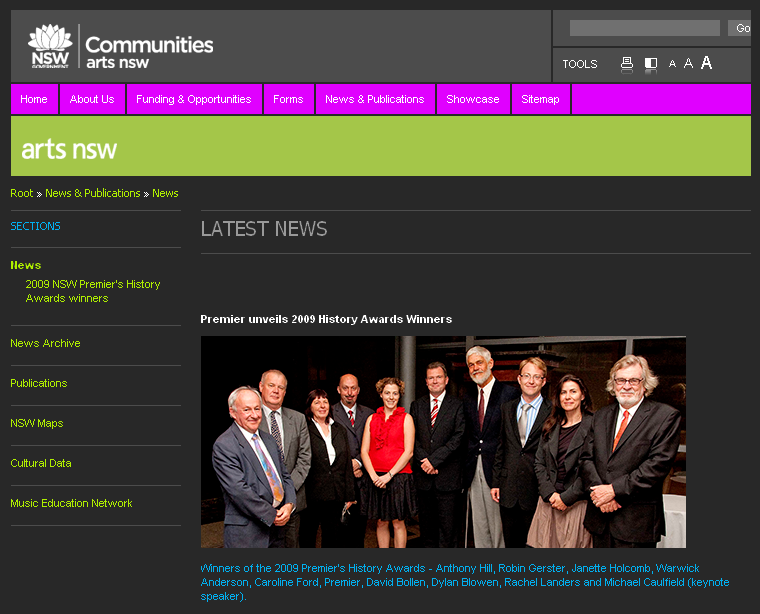 NSW Premier's History Awards 2009. Screenshot from Arts NSW website