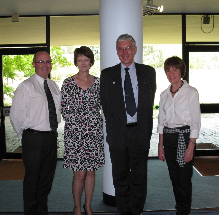 L to R: Professor Anthony Cahalan (Dean, Faculty of Arts); Professor Sue Thomas (Deputy Vice-Chancellor (Research) and Presiding Officer of the Archives Advisory Committee); Alan Ventress; Professor Lyn Gorman (Deputy Vice-Chancellor (Administration)).