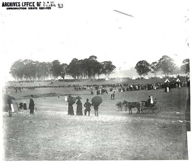 Believed to be NSW volunteers Easter Encampment at Windsor April 1884 - spectators watching soldiers