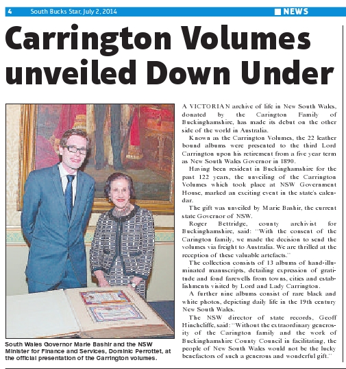 Carrington Volumes unveiled Down Under -South Bucks Star - July 2 2014 p4