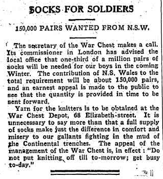 1918 'SOCKS FOR SOLDIERS.', The Mirror (Sydney, NSW : 1917 - 1919), 10 May, p. 3, viewed 17 September, 2014, http://nla.gov.au/nla.news-article136728185